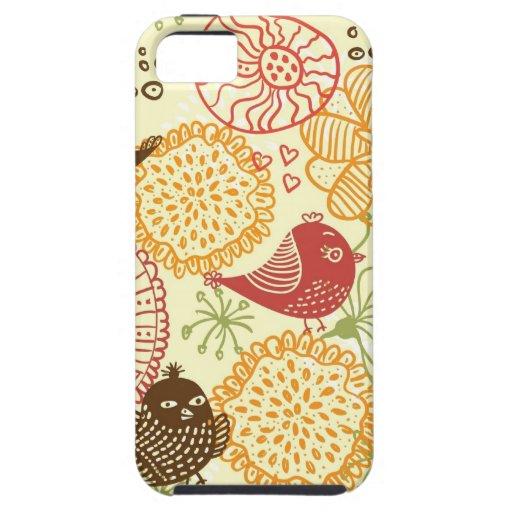 caso del iphone 5 de los pájaros del doodle iPhone 5 protectores