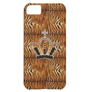 Caso del iPhone 5 de princesa Crown Tiger Fur