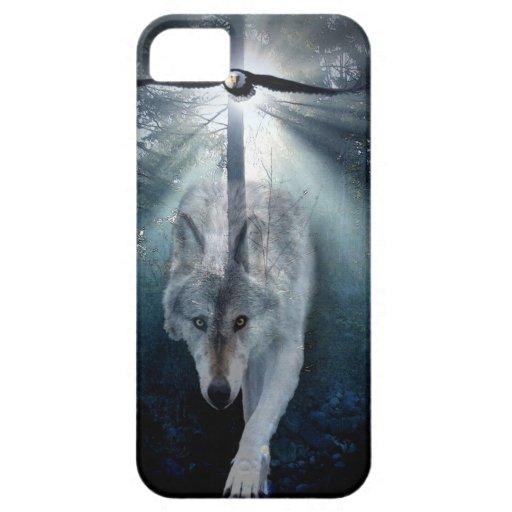 Caso del iPhone 5 del arte del lobo y de la fauna  iPhone 5 Coberturas