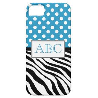 Caso del iPhone 5 del azul y del estampado de zebr iPhone 5 Case-Mate Protectores