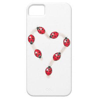 Caso del iPhone 5 del corazón de la mariquita iPhone 5 Cárcasa