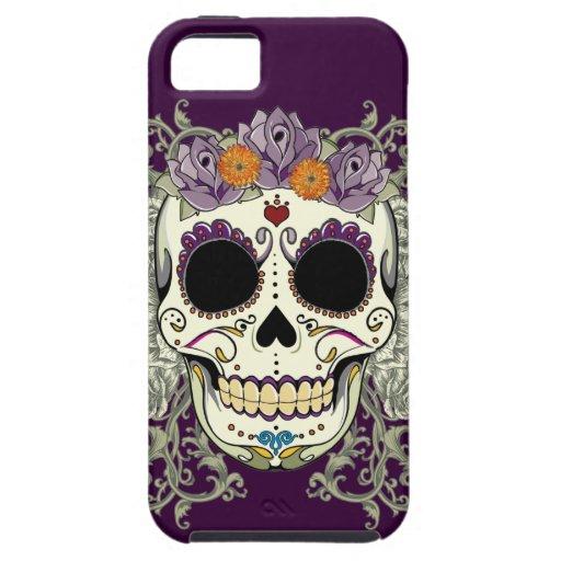 Caso del iPhone 5 del cráneo y de las flores del v iPhone 5 Case-Mate Cobertura