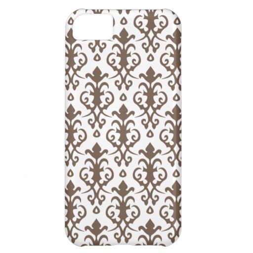 Caso del iPhone 5 del damasco de Brown del licor Funda Para iPhone 5C