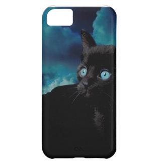 Caso del iPhone 5 del gato con el gato negro, comp