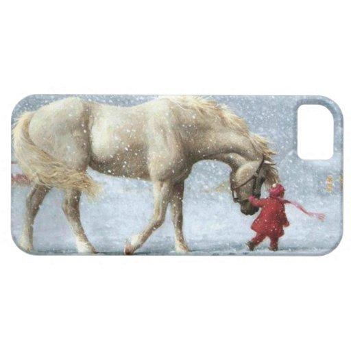 Caso del iPhone 5 del invierno del chica y del cab iPhone 5 Carcasa