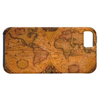 Caso del iPhone 5 del mapa del mundo del oro viejo Funda Para iPhone SE/5/5s