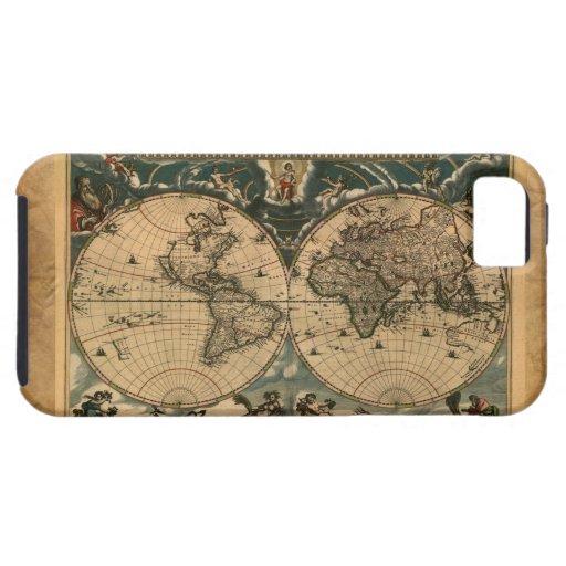 Caso del iPhone 5 del mapa del mundo del viejo est iPhone 5 Carcasas