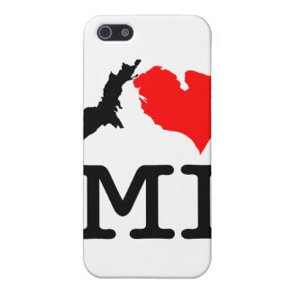 Caso del iPhone 5 del MI del ♥ I (corazón Michigan iPhone 5 Fundas