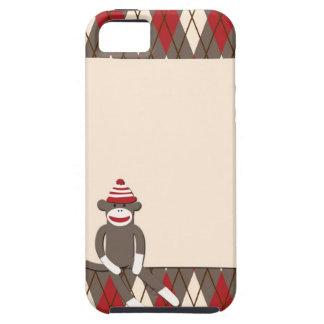 Caso del iPhone 5 del mono del calcetín de Argyle iPhone 5 Fundas