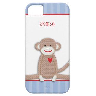 Caso del iPhone 5 del monograma del mono del calce iPhone 5 Protectores