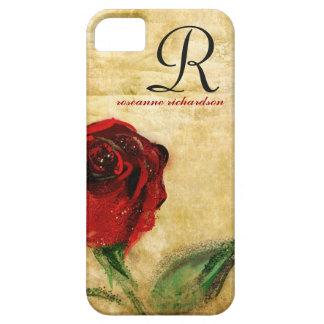 Caso del iPhone 5 del monograma del rosa rojo del  iPhone 5 Carcasas