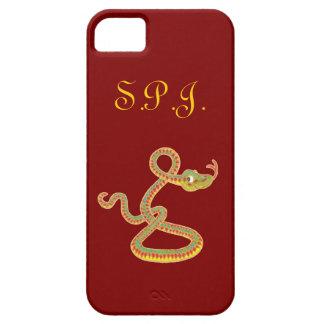 Caso del iPhone 5 del monograma, serpiente en rojo iPhone 5 Carcasa
