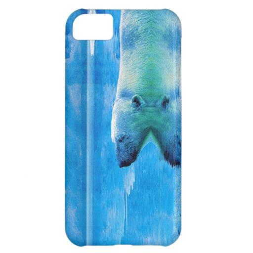 Caso del iPhone 5 del oso polar que nada y del hie