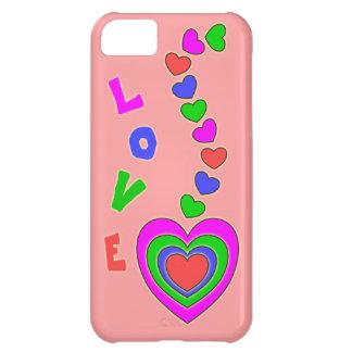 Caso del iPhone 5 del rosa del amor de los corazon