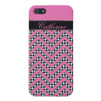 caso del iphone 5 del zigzag de las rosas fuertes iPhone 5 protectores