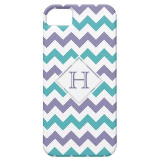 caso del iPhone 5: Monograma: Chevron púrpura y Funda Para iPhone 5 Barely There