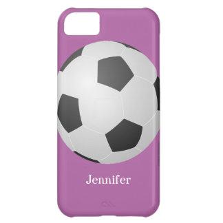 caso del iPhone 5c balón de fútbol púrpura pers