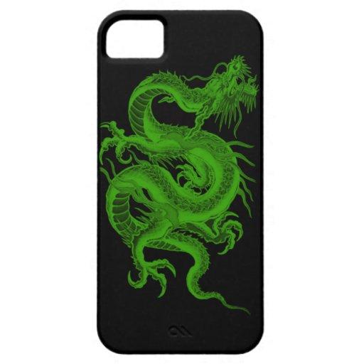 Caso del iPhone 5G del Draco del dragón verde Funda Para iPhone 5 Barely There