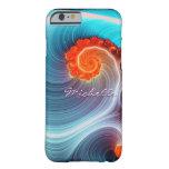 Caso del iPhone 6 de la ola oceánica del fractal Funda De iPhone 6 Barely There