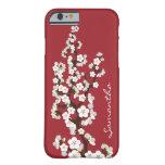 Caso del iPhone 6 de las flores de cerezo (rojo)
