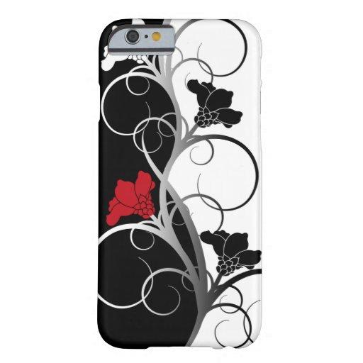 Caso del iPhone 6 de las flores negras/blancas Funda De iPhone 6 Barely There