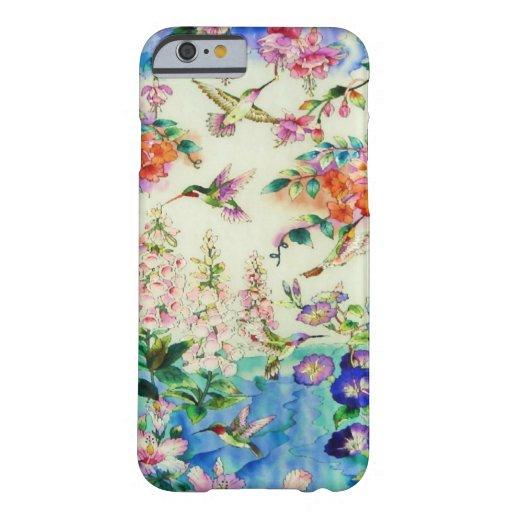 Caso del iPhone 6 de los colibríes y de las flores Funda De iPhone 6 Barely There