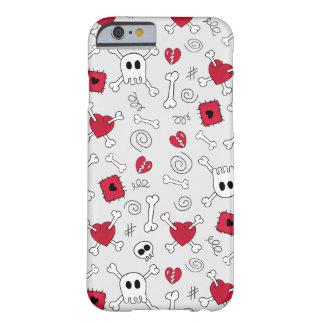 Caso del iPhone 6 de los Doodles de los cráneos y Funda De iPhone 6 Barely There