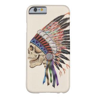 Caso del iPhone 6 del cráneo del jefe indio Funda De iPhone 6 Barely There