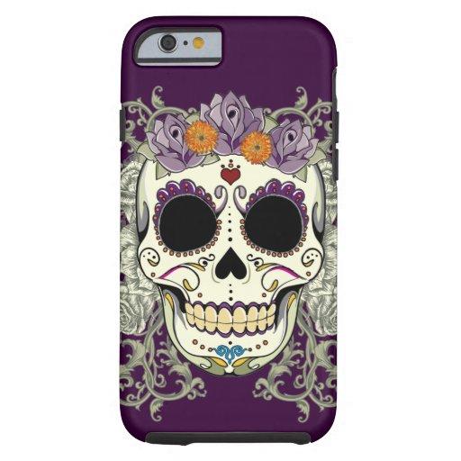Caso del iPhone 6 del cráneo y de las flores del Funda De iPhone 6 Tough