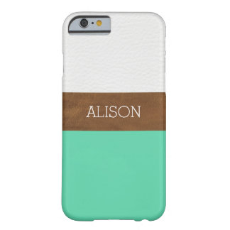 Caso del iPhone 6 del cuero y de la verde menta Funda Para iPhone 6 Barely There