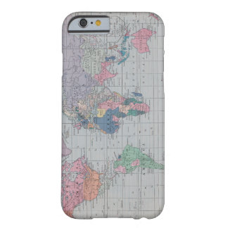Caso del iPhone 6 del mapa del mundo del vintage Funda De iPhone 6 Barely There