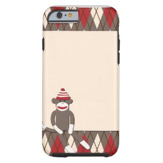 Caso del iPhone 6 del mono del calcetín de Argyle Funda De iPhone 6 Tough