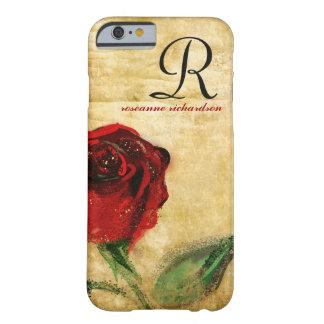 Caso del iPhone 6 del monograma del rosa rojo del