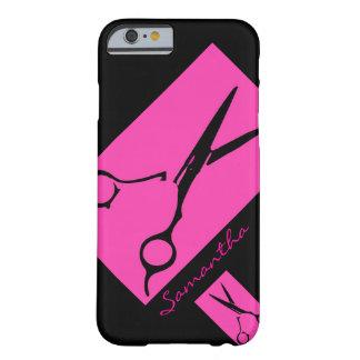 Caso del iPhone 6 del negro del rosa del estilista