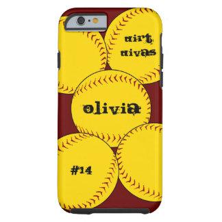 Caso del iPhone 6 del softball de Fastpitch Funda De iPhone 6 Tough