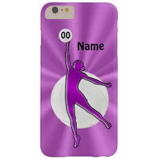 Caso del iPhone 6 del voleibol con NOMBRE y NÚMERO Funda De iPhone 6 Plus Barely There