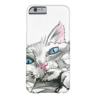 caso del iPhone 6: Dibujo blanco del gato Funda De iPhone 6 Barely There