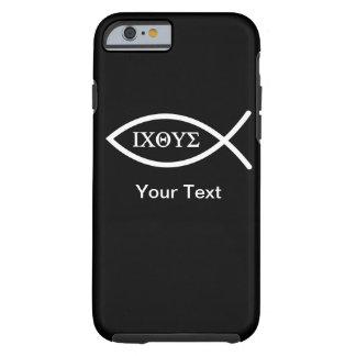 caso del iPhone 6 - Ichthys - su texto - plantilla Funda De iPhone 6 Tough