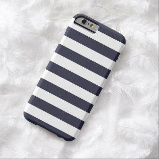 caso del iPhone 6 - rayas intrépidas de los azules Funda De iPhone 6 Barely There