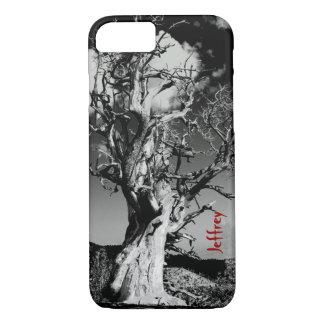 caso del iPhone 7, árbol asustadizo, blanco y Funda iPhone 7