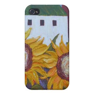 Caso del iPhone amarillo 4 del girasol y del grane iPhone 4 Fundas
