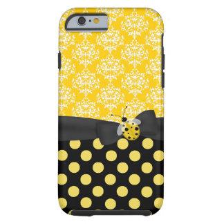 Caso del iPhone amarillo lindo 6 de la mariquita y Funda De iPhone 6 Tough