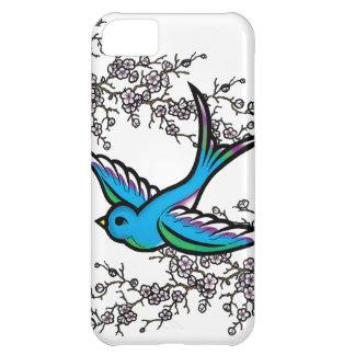 Caso del iPhone azul 5 del trago y de la flor de c Funda Para iPhone 5C