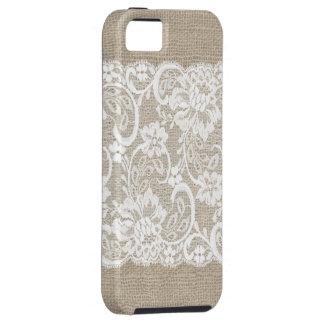 Caso del iPhone de la arpillera y del cordón del v iPhone 5 Case-Mate Carcasa