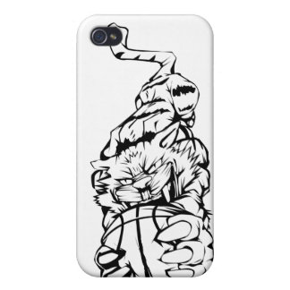 caso del iphone de la bola del tigre iPhone 4 protectores