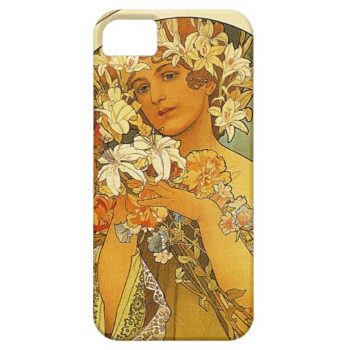 Caso del iPhone de la flor de Nouveau Alfonso Funda Para iPhone SE/5/5s
