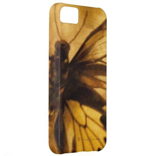 Caso del iPhone de la mariposa del oro y de Brown  Funda Para iPhone 5C