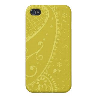 Caso del iphone de la mota de Paisley del oro iPhone 4 Cárcasa