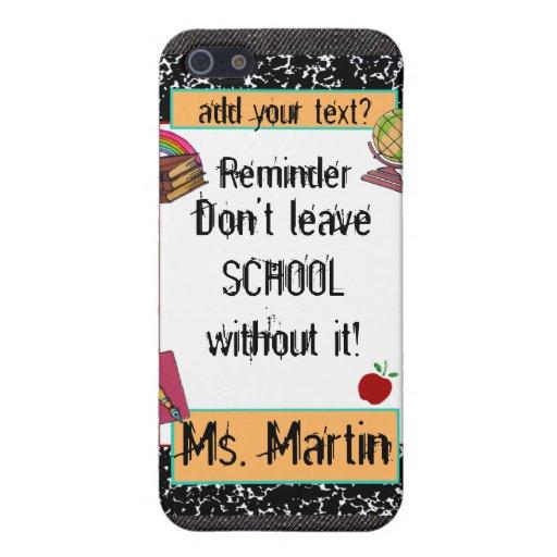 Caso del iPhone de la mota del tema de la escuela  iPhone 5 Protectores