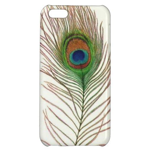 Caso del iPhone de la pluma del pavo real